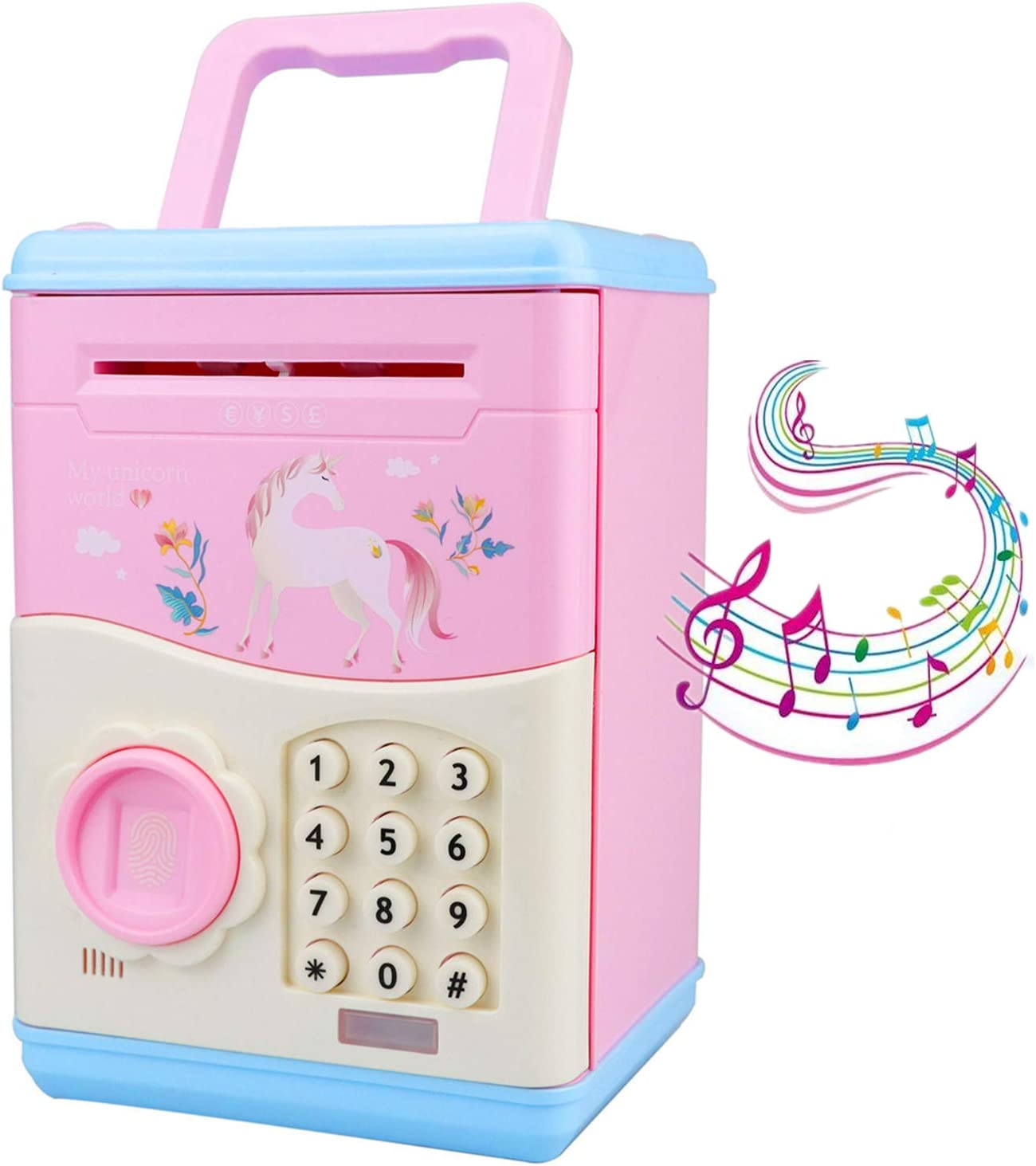 Unicorn Savings Piggy Bank for Girls Kids, Mini ATM Electronic Piggy Banks Money Banks Coin Banks with Password Multi-Button Electronic Number Bank, Great Gift Toys for 7-12 Year Old Girls, Pink