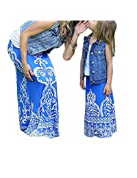remeo suit Mommy and Me Family Matching Bohemian High Waist Slim Long Maxi Skirt