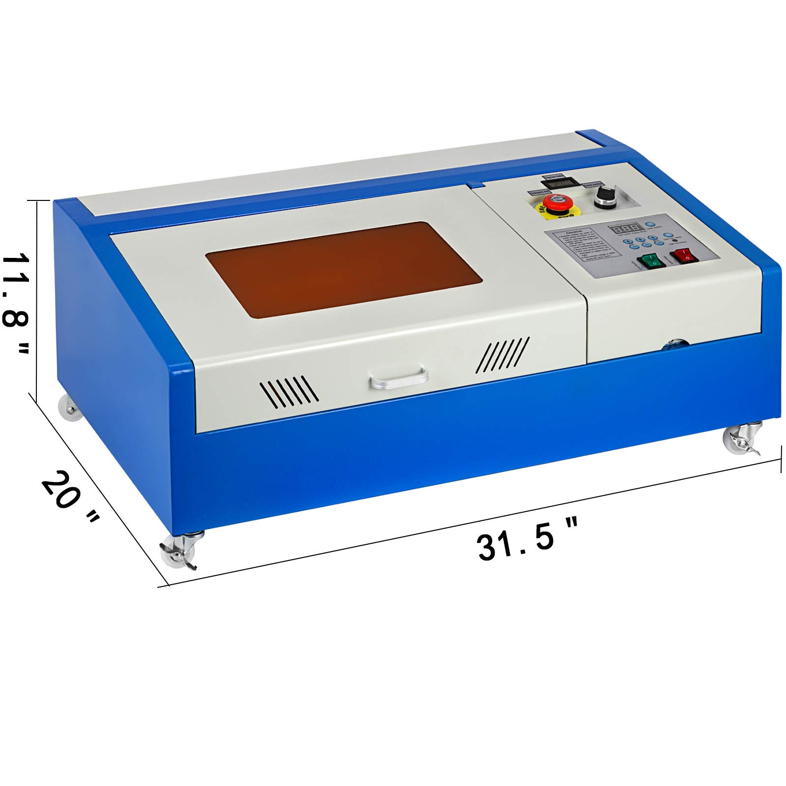 Mophorn Laser Engraving Machine 40W CO2 Laser Engraver 12x8 Inch Laser Cutting Machine USB Port LCD Display with Rotate Wheels(40W 300x200) by Mophorn (Image #3)