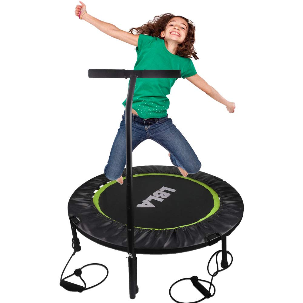 "38'' Kids Trampoline Mini Bouncer with Adjustable Handrail & Safety Padded Cover, Exercise Trampoline Round Seaside Adventure Foldable Bungee Rebounder Jumping Mat (38"" Green) by Beebeerun (Image #1)"