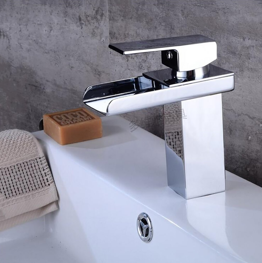 Fen Waterfall Bathroom Basin Taps, Brass Hot Cold Mixer Tap,Single Hole Mixing Hotel Faucet,Modern Luxury Mixer by Fen (Image #2)