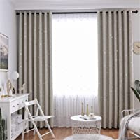 1 Panel Children Blackout Curtains Eyelet Kid Curtain with Star and Moon Pattern for Home Decor Nursery, Multiple Colour,Beige,1.5 × 2.0m