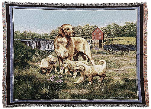 Pure Country Weavers - Golden Retriever with Puppies Woven Tapestry Throw Blanket with Fringe Cotton USA Size 72 x 54 ()