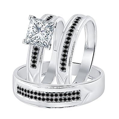 Amazon.com: Dabangjewels - Anillo de boda de plata de ley ...