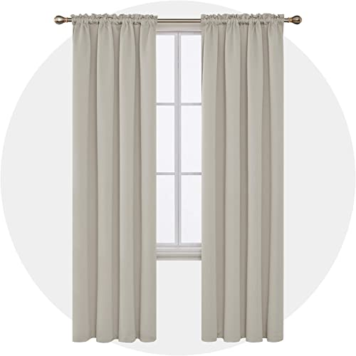 Deconovo Cream Blackout-Rod Pocket Thermal Insulated Curtains for Nursery, 42×95 Inch