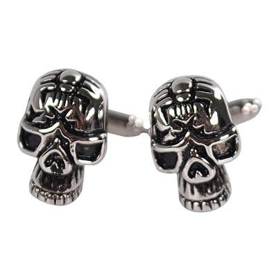 Gemelos de Traje de Negocios Camisa Esqueleto de la Cabeza del Cráneo de las Mancuernas de la Boda: Amazon.es: Joyería