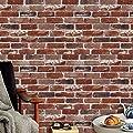 Retro Brick Wallpaper Roll,Vintage Faux Brick Panel Wallpaper Bedroom Living Room Bar Wall Decoration