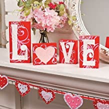 Love Blocks Wooden V-day Gift Table Top Decoration Home Accent Red Pink White Scrolls Heart Shape Design Romantic Sign L O V E Words Valentine's Day Decor