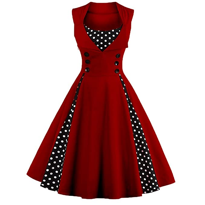 KeKeD23921 Robin Pin up Vestido Sexy Vestidos de Verano Vestidos Patchwork Retro Vintage Dress Casual para