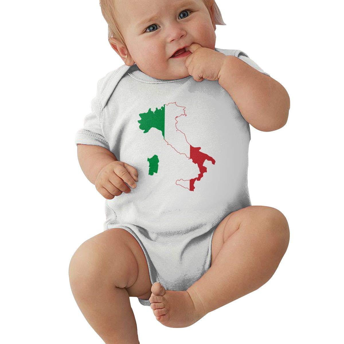 Dfenere Italia Italy Italian Flag Logo Casual Newborn Baby Short Sleeve Bodysuit Romper Infant Summer Clothing Black