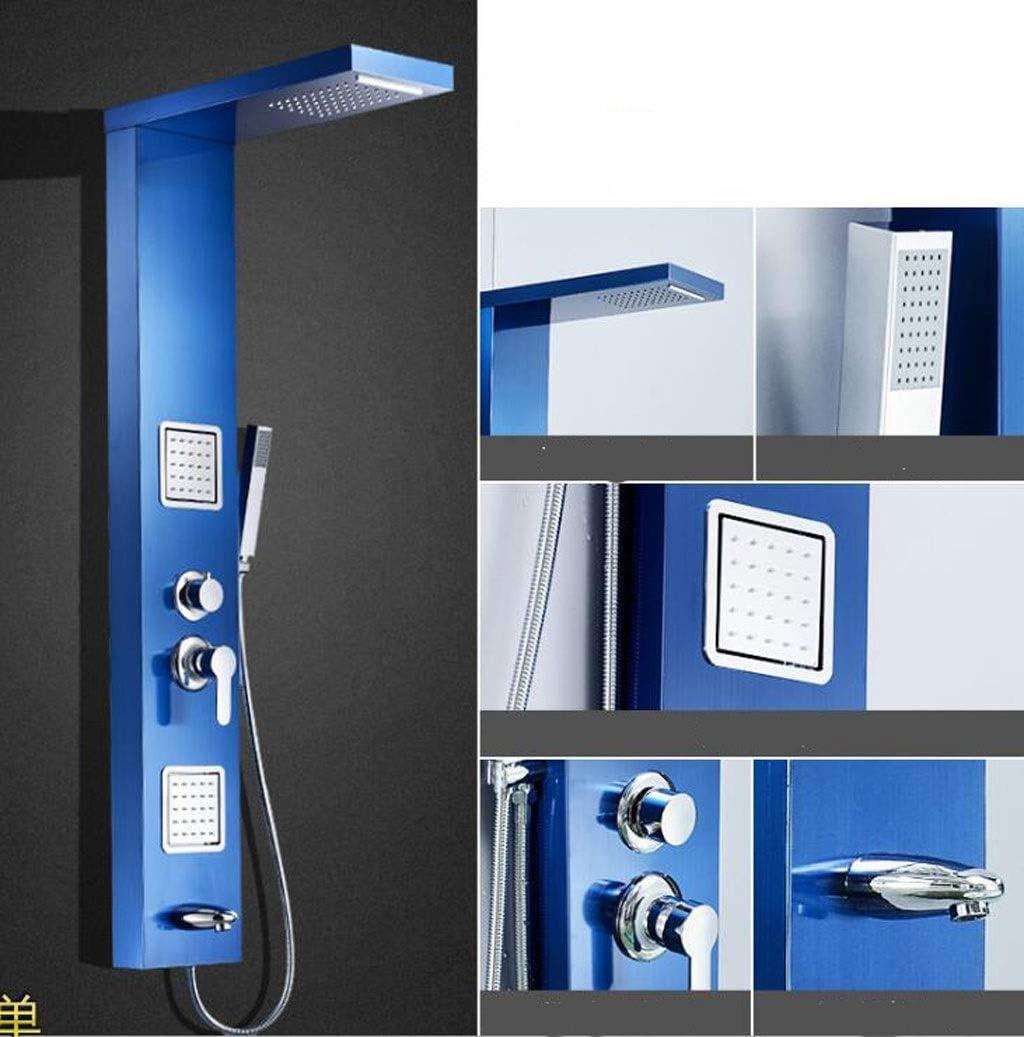 CHENGXINGF Cabezal de Ducha en Modo rociador Columna de Ducha con mampara de Ducha termostática de Pared de Acero Inoxidable 304 Conjunto de Ducha de baño frío y Caliente (Color : Azul):