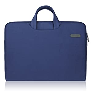 Arvok 13 13.3 14 Inch Water-Resistant Canvas Fabric Laptop Sleeve with Handle&Zipper Pocket/Notebook Computer Case/Ultrabook Briefcase Carrying Bag/Pouch Cover for Acer/Asus/Dell/Lenovo/HP,Denim Blue