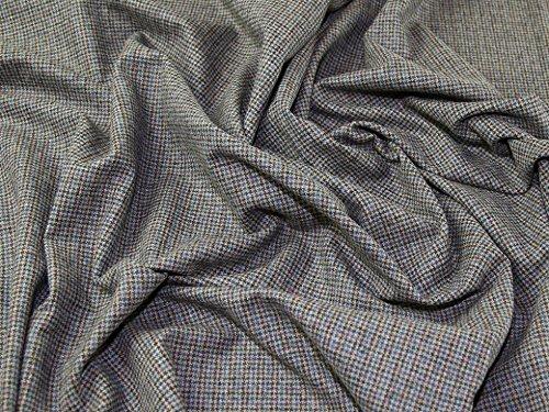 English 100% Wool Plaid Weave Suiting Dress Fabric Teal & Tan - per metre