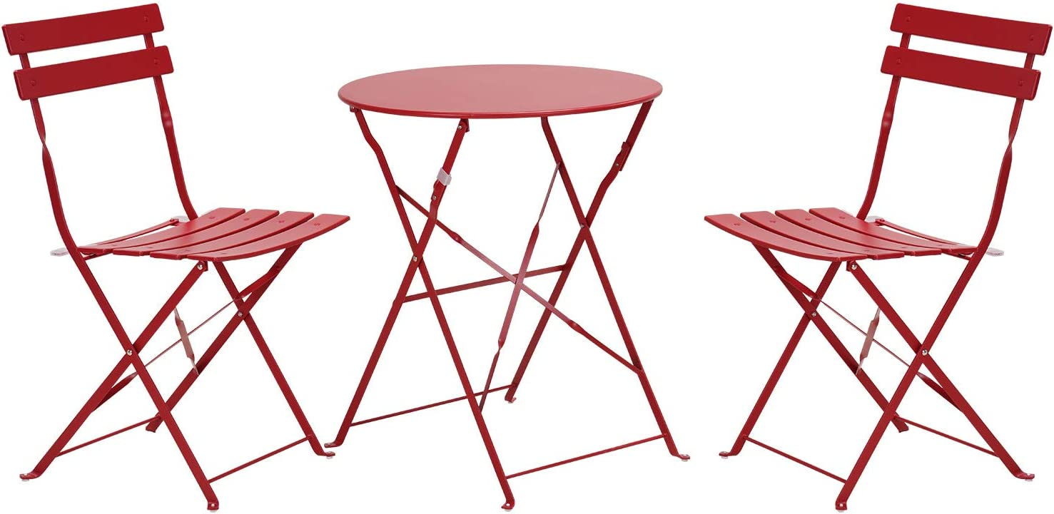Grand patio Premium Steel Patio Bistro Set, Folding Outdoor Patio Furniture Sets, 3 Piece Patio Set of Foldable Patio Table and Chairs, Red : Garden & Outdoor