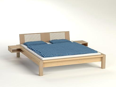 Bett 120x200 holz  Bett Lamellenbett Holz Birke mit Lamellenlehne und C-Tischen 120 x ...