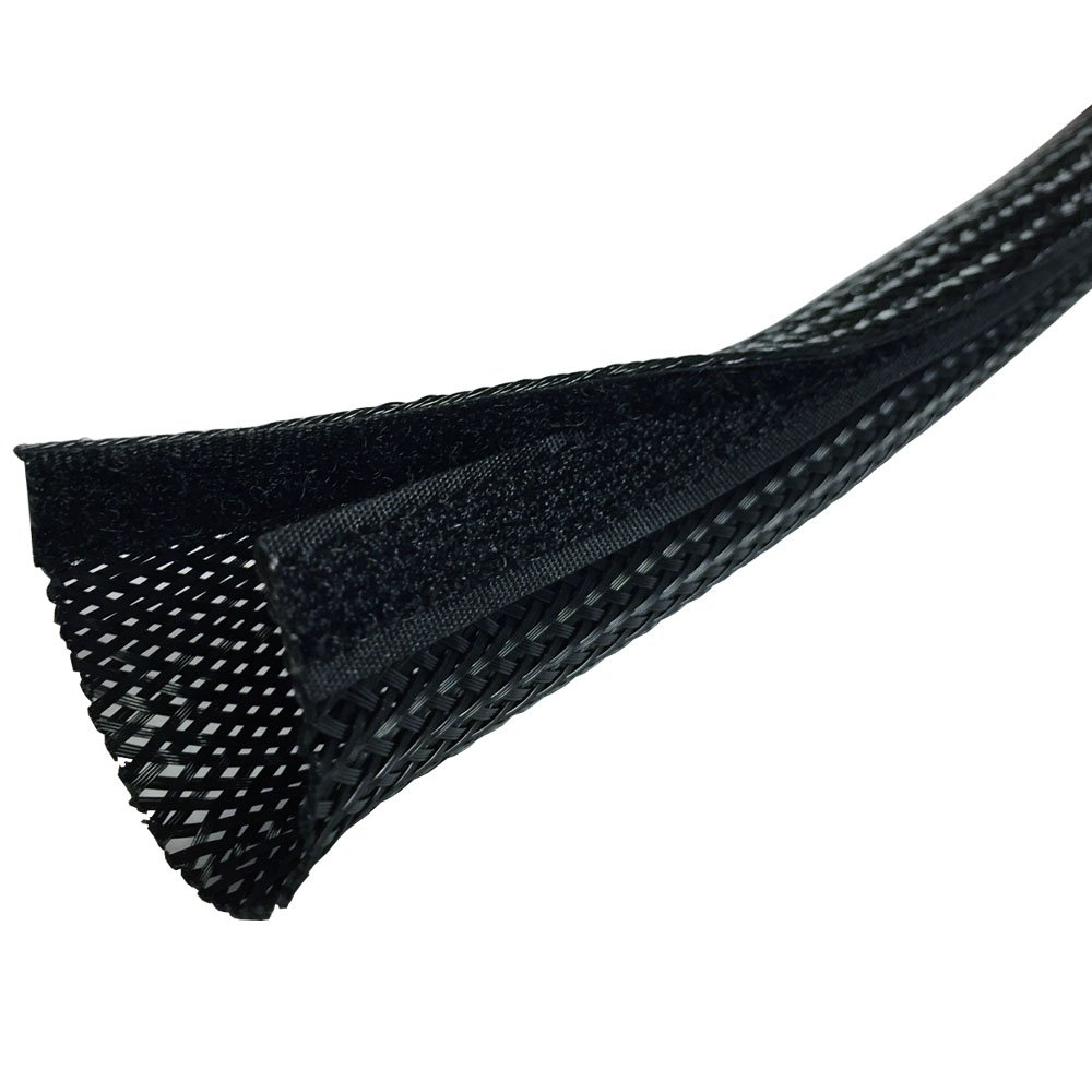 1.25'' Side Entry Cable Wrap Braided Sleeving with Hook & Loop Fastener - Length: 100 Feet