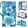 ZTE Imperial MAX Z963U Case, - Customerfirst, Wallet Pouch Case Cover With Fold Up Kickstand and Detachable Wrist Strap FREE emoji keychain For ZTE Kirk Z988 (Teal Flower)