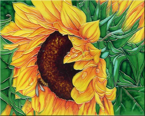 Continental Art Center HD-005 11 by 14-Inch Sunflower with Green Leaves Ceramic Art ()