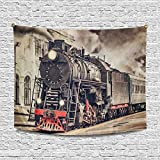 InterestPrint Funny Retro Steam Train Departs from Station Tapestries Home Decor, Cotton Linen Tapestry Wall Hanging Decorative Tapestry, 80W X 60L inch