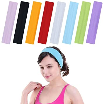 8 Pieces Stretch Elastic Yoga Cotton Headbands for Teens and Adults ... 0a20b090238