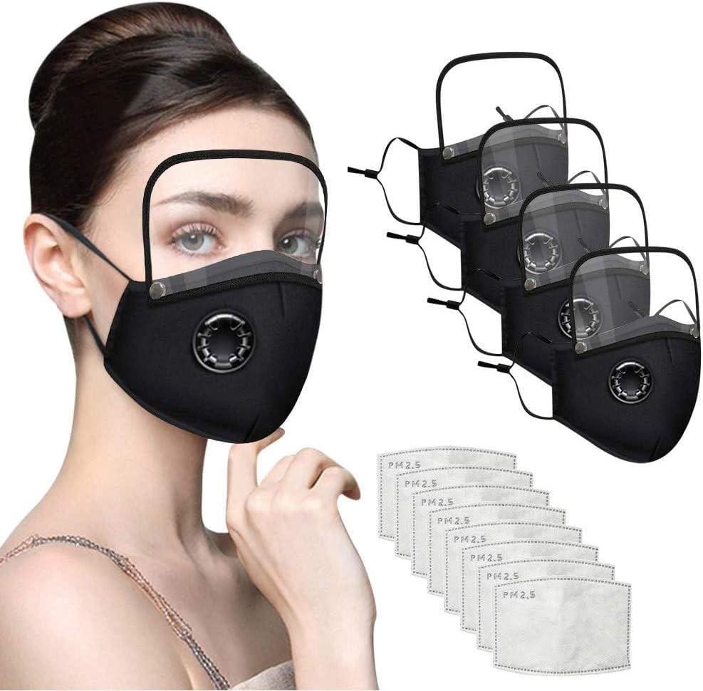 JJIIEE Boca cómoda de algodón con Protector Ocular Desmontable, Protector Facial Reutilizable Lavable para Adultos para Interiores y Exteriores 4 Piezas + 8 filtros