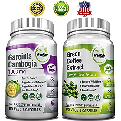 Pure Green Coffee Bean Extract + Pure Garcinia Cambogia Extract - Now sold together as a SUPER WEIGHT LOSS BUNDLE. FIRST: Burn Fat & Sugar the natural way with Green Coffee Extract 1000 mg Standardized to 50% Chlorogenic Acid, THEN supercharge weight loss