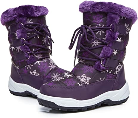 TF STAR Girls Outdoor Waterproof Winter Snow Boots for Toddler/Litter  Kid/Big Kids,Toddler Mid Calf Anti-Skid Warm Snow Boots Shoes & Handbags  Girls