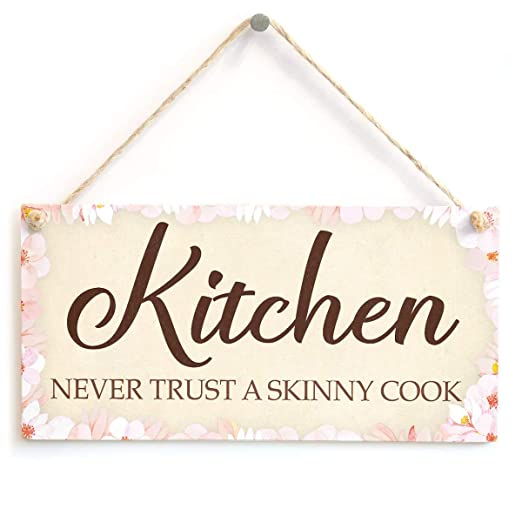 MiMiTee Kitchen Never Trust a Skinny Cook Cartel de Madera ...
