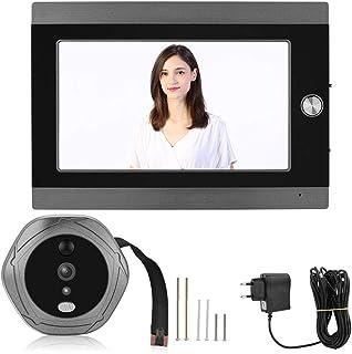Visualizzatore porta digitale, schermo LCD TFT a colori da 7'pollici Visualizzatore spioncino digitale porta Wi-Fi, campanello senza fili interfono, per la sicurezza domestica(EU Plug)