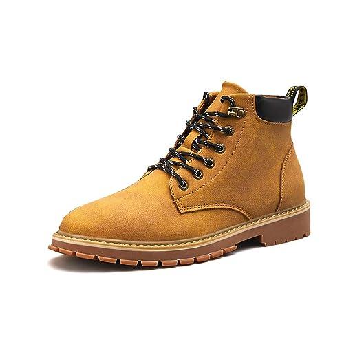 Botas para Hombre Martin Botas con Cordones Botines Negros Botas Altas De Trabajo Calzado De Invierno En Amarillo para Practicar Senderismo: Amazon.es: ...