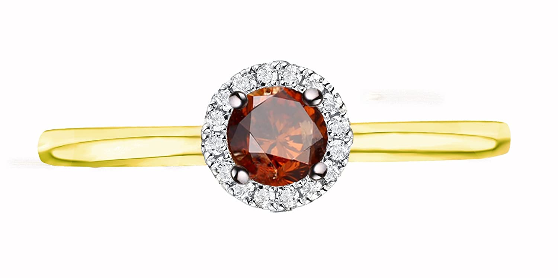 Prism Jewel 0.36Ct Cognac Diamond Surrounded White Diamond Engagement Ring ER0088