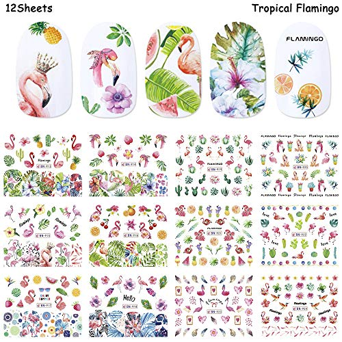 Nail Decals for Women Nail Art Accessories Stickers Colorful Flamingos Flowers Fruit World Summer Animal Environmental Protection Nail Water Tattoo Stickers for Fingernails & Toenails Decor by Hary (Fingernail Tattoos)