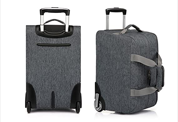 61c7e939549f YESO Trolley Travel Bag Hand Luggage 20inch 32L Rolling Duffle Bags  Waterproof Oxford Suitcase On Wheels Carry On Luggage Unisex (Dark-grey)   Amazon.co.uk  ...