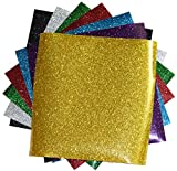SpotDeals4u GLITTER Heat Transfer Vinyl for T Shirts garments bags and other fabrics-7 Glitter Sheets 9.8' X 9.8' - Assorted colors - Black,Silver,Red,Green,Gold,Purple and Aqua-Iron on Vinyl
