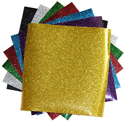 GLITTER Heat Transfer Vinyl for T Shirts garments bags and other fabrics-7 Glitter Sheets 9.8