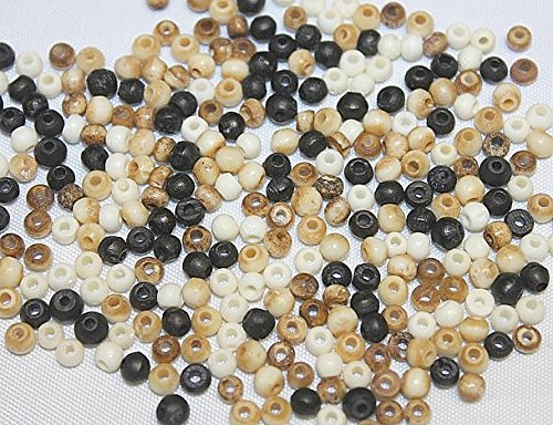(Hand Crafted Bone Beads - 4mm - Round - Assorted Colors - 288 Pieces of Beads Per Package)