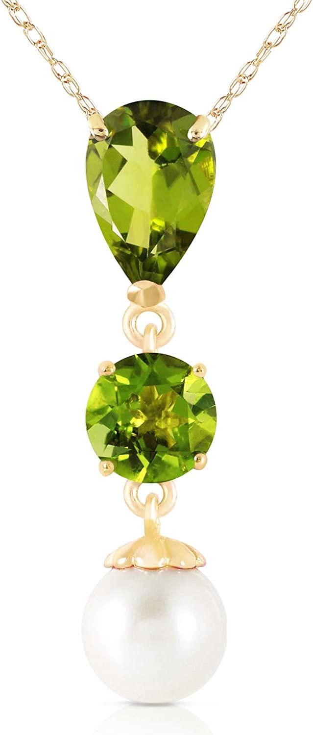 ALARRI 1.5 Carat 14K Solid Rose Gold Pear Peridot Necklace with 22 Inch Chain Length