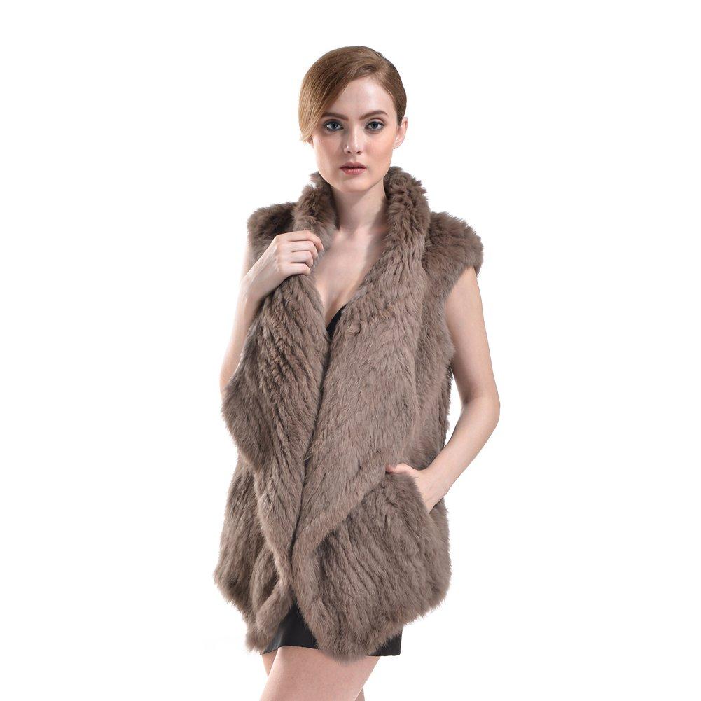 Bellefur Genuine Knitted Rabbit Fur Cape Coat Vest for Women