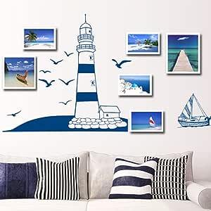 ملصق حائط قابل للإزالة برج قارب شراعي أزرق صور فنية جدارية DIY ورق جدران
