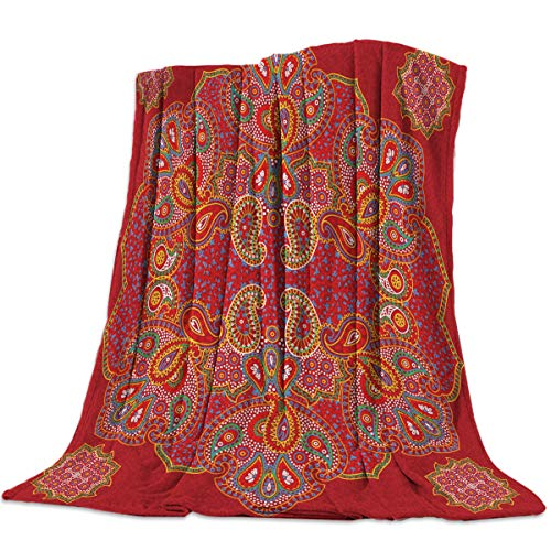 YEHO Art Gallery Super Soft Fleece Throw Blanket Bed Blankets,Red Paisley Pattern,Lightweight Plush Microfiber Blanket,Warm Cozy Couch Bed TV Blanket for All Season,39x49 Inch (Settee Paisley)