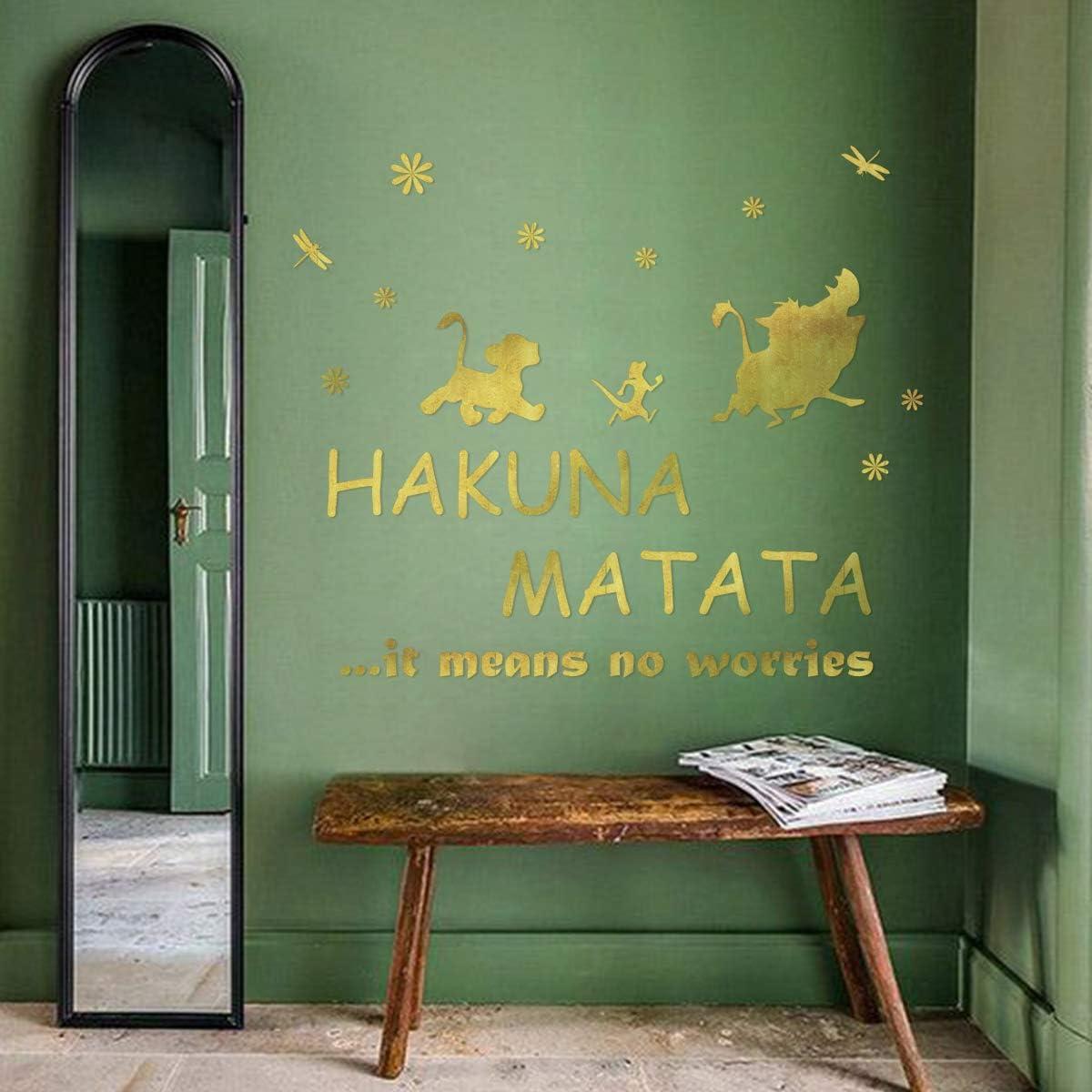 ufengke Wandtattoo Spr/üche Hakuna Matata Golden Wandaufkleber Wandsticker Buchstaben Motivation f/ür Kinderzimmer Schlafzimmer Wohnzimmer