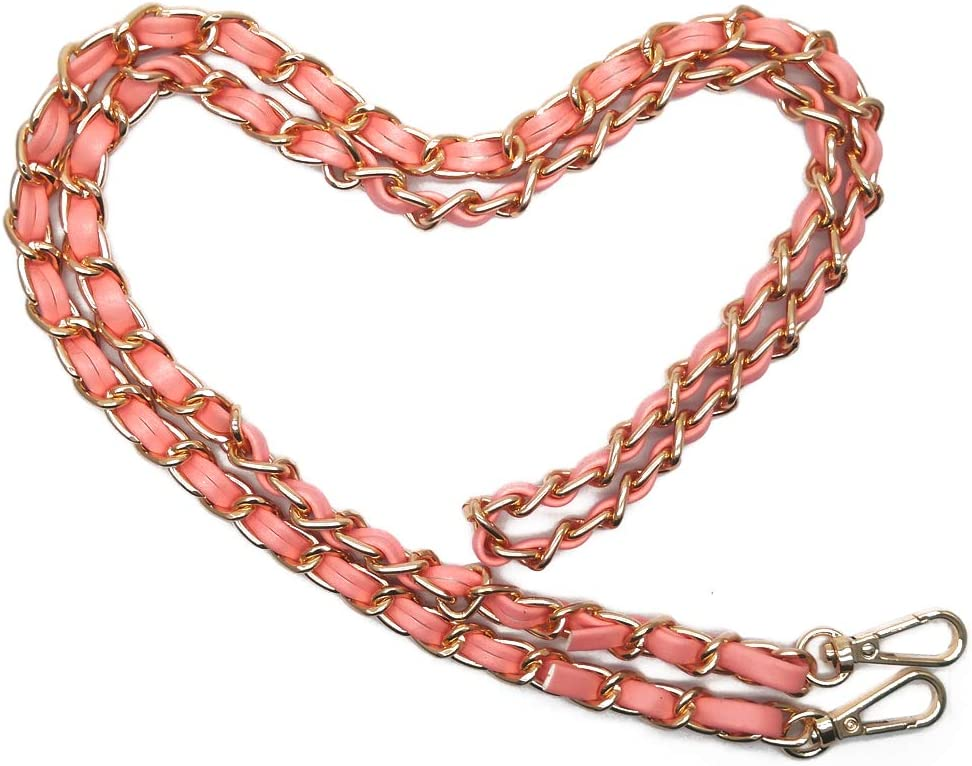 Synthetic Leather Metal Chain Replacement Interchangeable Shoulder Bag Strap Bag Accessories 47 Inch Pink