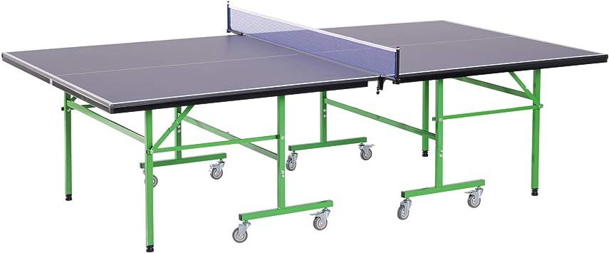 HOMCOM Mesa de Ping Pong Plegable con Ruedas Red Tenis de Mesa ...