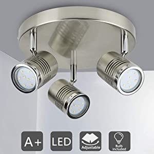 DLLT Industrial Directional Track Light Led, Indoor Round Ceiling Spot Lighting 3-Light for Living Room, Dining Room, Offices, Bedroom, Picture Wall, Kitchen, Warm Light, Gu10 Bulbs Included