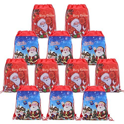 Holiday Drawstring Goody Bags - Babofarm's 12 Christmas Santa Drawstring Pouch BACKPACK Bags Christmas Xmas Gift Wrap Bag Santa Theme Bags Kids Christmas Present Wrap Bag Santa Draw String Bags Xmas Theme Carry-on Backpacks Holiday Party Present Wrap Bags