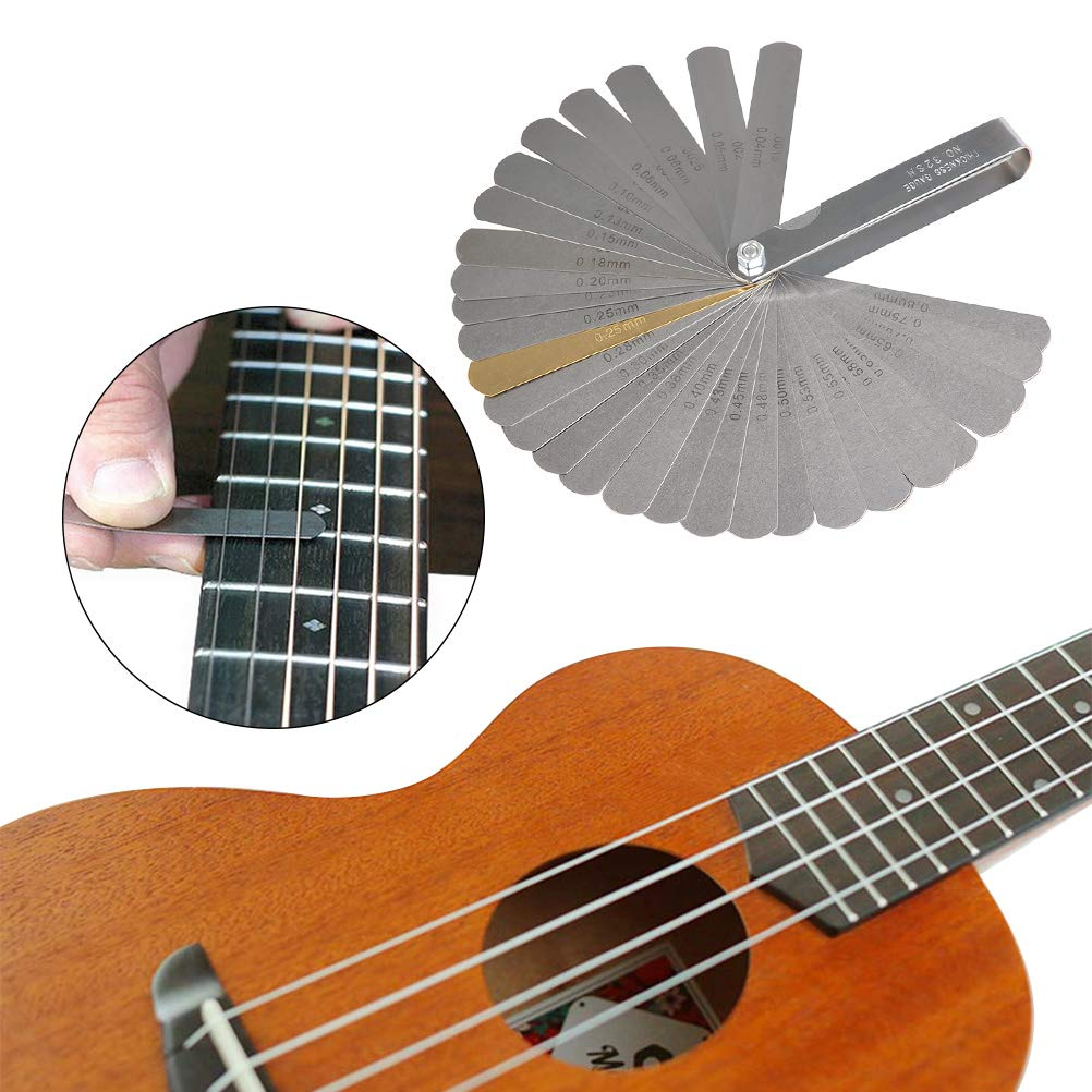 TIMESETL 13 Stainless Steel Guitar Bridge Saddle Nut Files 9 Sheet Sandpaper for Guitar and Bass Setup 32 Blades Feeler Gauge Dual Marked Metric and Imperial Gap Measuring Tool