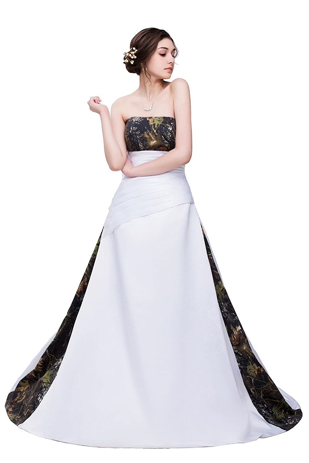 Dingzan Strapless Satin Camo Military Wedding Dresses Long Prom