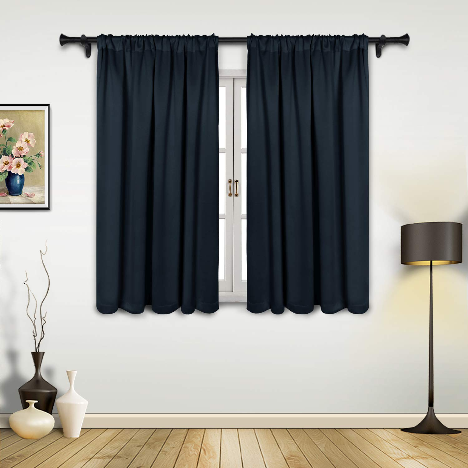SUO AI TEXTILE Blackout Curtains Thick Darkening Drapes Suede Like Silver Print Darkening Thermal Insulated Grommet Window Curtain,52 by 84 Inch,2 Panels,White FUMILY