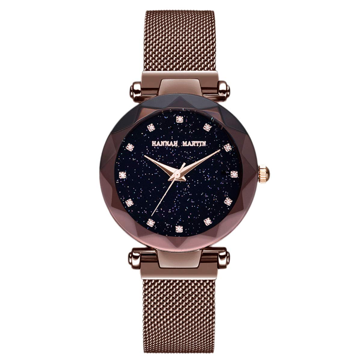 Hannah Martin Japan Quartz Women s Watch Stainless Steel mesh Magnetic Buckle Band Waterproof Ladies Watches