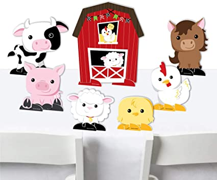 7 Pieces Barnyard Baby Shower or Birthday Party Centerpiece Table Decorations Tabletop Standups Big Dot of Happiness Farm Animals